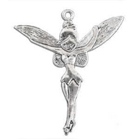 Metal Charm - Antique Silver Large Tinkerbell Style Fairy x 52mm