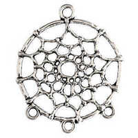 Metal Charm - Antique Silver Dream Catcher Connector Ring x 34mm