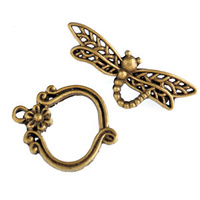 Toggle Clasp - Antique Bronze Dragonfly