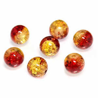 Crackle Glass Beads - Sunset Fire 8mm x 10
