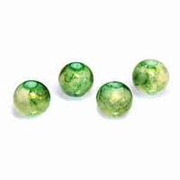 Round Glass Beads - Lime Shimmer 10mm x 10