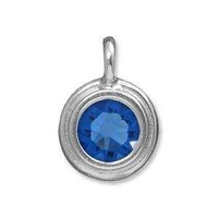 Tierracast Stepped Birthstone Charm - Rhodium Plated Sapphire x 16.5mm