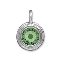Tierracast Stepped Birthstone Charm - Rhodium Plated Peridot x 16.5mm