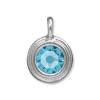 Tierracast Stepped Birthstone Charm - Rhodium Plated Aquamarine x 16.5mm
