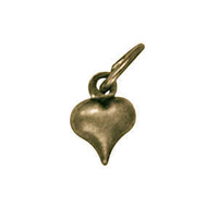 Pendant Charm with Jump Ring - Antique Brass Puffed Heart x 6mm