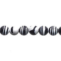 Global Chic Round Gemstone Beads - Abstract Black and White x 6mm