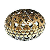 Large Metal Filigree Rondelle Bead - Antique Bronze x 1-1/4""