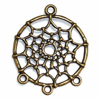 Metal Charm - Antique Bronze Dream Catcher Connector Ring x 34mm