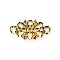 Metal Connector Link - Gold Plated Filigree Flower x 16mm