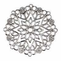 Metal Filigree Stamping Charm - Antique Silver Large Floral x 35mm