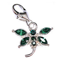 Clip On Rhinestone Charm With Lobster Clasp - Silver Plated Dragonfly x Emerald