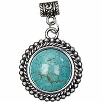 Metal Accent Pendant - Antique Silver Turquoise x 29mm