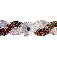 Sequin Trim Flower Swirl - Brown and Silver Hologram