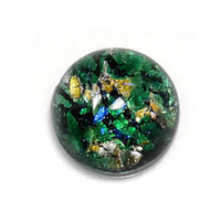 Domed Glass Cabochon - Round Speckled Green *Factory Seconds*
