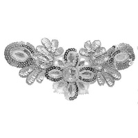 Beaded Sequin Applique - Flower Motif - Silver