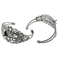 Filigree Cuff With Setting - Adjustable Antique Silver