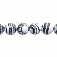 Global Chic Round Gemstone Beads - Abstract Black and White x 8mm