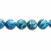 Global Chic Round Gemstone Beads - Abstract Turquoise Navy x 8mm