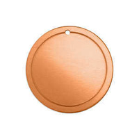 Metal Stamping Blank - 18ga Copper Border Circle Tag x 31mm - Factory Seconds