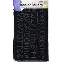 "Iron-On Letter Transfers - Black Monogram x 1"" And 2"""