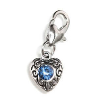Clip On Rhinestone Charm With Lobster Clasp - Silver Plated Love Heart x Sapphire