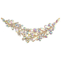 Elegant Chic Crystal Applique Motif - Large Crystal Ab Gold