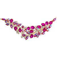 Elegant Chic Crystal Applique Motif - Large Fuchsia Ab Gold