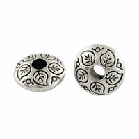 Tibetan Style Silver Metal Lentil Shaped Beads - Antique Silver 9mm x 10