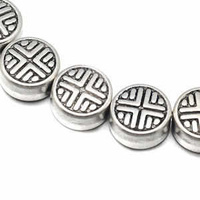 Tibetan Style Silver Metal Coin Beads - Antique Silver Cross 6.3mm x 10