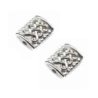 Tibetan Style Silver Metal Rectangle Beads - Antique Silver Pillow - 7.5mm x 10