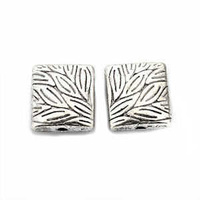 Tibetan Style Silver Metal Rectangle Beads - Antique Silver Etched Pillow - 10mm x 10
