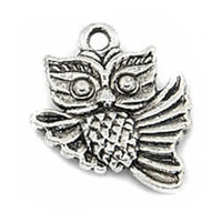 Pendant Charm With Ring - Antique Silver Little Owl x 18mm