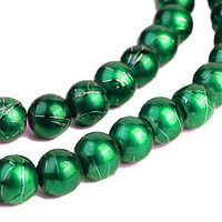 Glass Beads Round - Textured Jewel Green 8mm x 20
