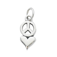 Pewter Charm with Jump Ring - Silver Plated - Peace Love x 16mm