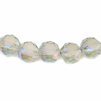 Glass Beads Faceted Coin - Icy Mint 8mm x 10