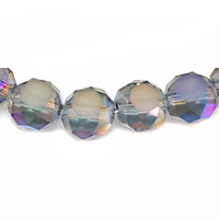 Glass Beads Faceted Coin - Opal Slate 8mm x 10