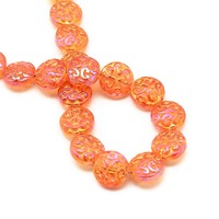 Glass Disc Beads - Sizzling Sunset Orange 13.5mm x 10