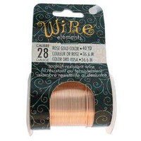 Beadsmith Craft Wire - Tarnish Resistant - 40 Yds - Rose Gold x 28ga
