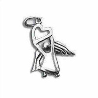 Sterling Silver Charm with Jump Ring- Angel with Heart x 18mm