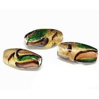 Earthly Shimmer Vintage Glass Bead - 9mm x 19mm