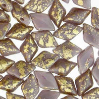 Czech Glass Gemduo Beads - Gold Splash Purple Opaque 8x5mm
