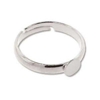 Adjustable Ring - Silver Plated With Glue On x 5mm