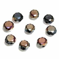Glass Beads Faceted Coin - Copper Frost 6mm x 20