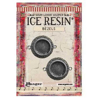 Ice Resin Milan Bezels - Small Circles x Antique Silver x 2