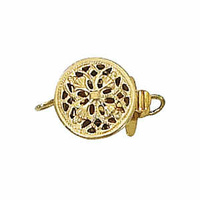 Filigree Clasp With Ring - Single Strand Round - Gold Filled x 9mm