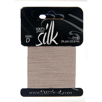 Silk Thread - Pure Silk Bead Thread - Size D Grey