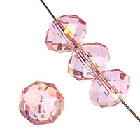 Dazzle-It Ori Crystal Faceted Donut Beads - Pink Ab 6x4mm