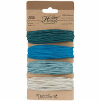 Natural Hemp Cord - Shades Of Aqua 1mm