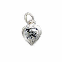 Sterling Silver Charm With Jump Ring- Heart With Cubic Zirconia