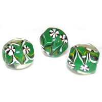 Artisan Green Vintage Glass Bead x 20mm
